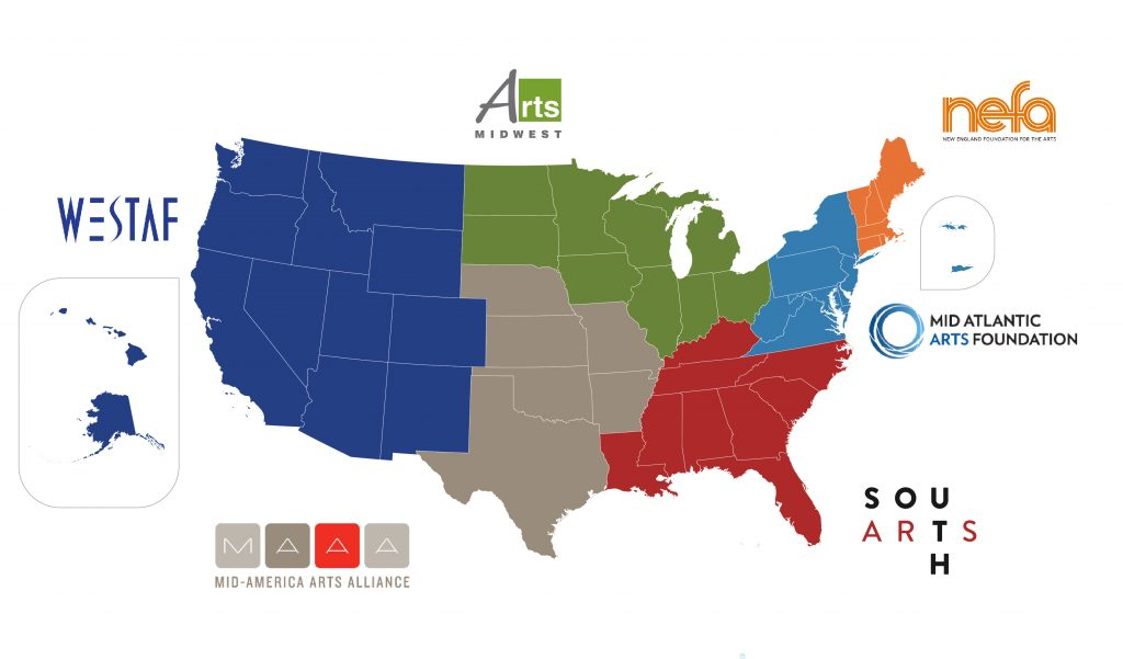 Map of the United States with RAO Logos